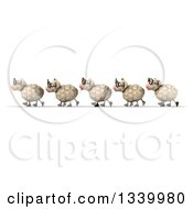 Clipart Of A 3d Flock Of Bespectacled Sheep Walking In Line To The Left Royalty Free Illustration