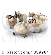 Clipart Of A 3d Flock Of Bespectacled Sheep Walking In A Circle Royalty Free Illustration