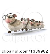 Clipart Of A 3d Flock Of Bespectacled Sheep Running In Line Slightly To The Left Royalty Free Illustration