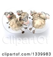 Clipart Of A 3d Flock Of Bespectacled Sheep Running In A Circle Royalty Free Illustration