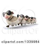 Clipart Of A 3d Flock Of Sheep Wearing Sunglasses And Running In A Line Slightly To The Left Royalty Free Illustration