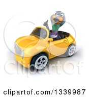 Clipart Of A 3d Pigeon Giving A Thumb Up And Driving A Yellow Convertible Car 3 Royalty Free Illustration