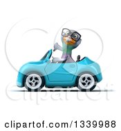 Clipart Of A 3d Bespectacled Pigeon Giving A Thumb Down And Driving A Blue Convertible Car Royalty Free Illustration