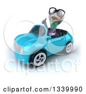 Clipart Of A 3d Bespectacled Pigeon Giving A Thumb Up And Driving A Blue Convertible Car Royalty Free Illustration