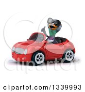 Clipart Of A 3d Pigeon Wearing Sunglasses Giving A Thumb Up And Driving A Red Convertible Car Royalty Free Illustration