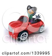 Clipart Of A 3d Pigeon Wearing Sunglasses Waving And Driving A Red Convertible Car Royalty Free Illustration