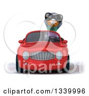 Clipart Of A 3d Pigeon Wearing Sunglasses And Driving A Red Convertible Car Royalty Free Illustration