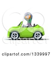 Clipart Of A 3d Pigeon Driving A Green Convertible Car Royalty Free Illustration