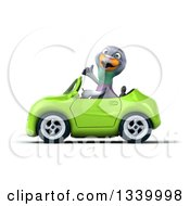 Clipart Of A 3d Pigeon Giving A Thumb Up And Driving A Green Convertible Car Royalty Free Illustration