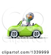 Clipart Of A 3d Pigeon Giving A Thumb Down And Driving A Green Convertible Car Royalty Free Illustration