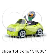 Clipart Of A 3d Pigeon Giving A Thumb Up And Driving A Green Convertible Car 2 Royalty Free Illustration