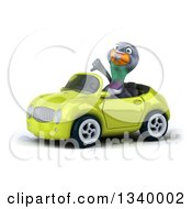 Clipart Of A 3d Pigeon Giving A Thumb Down And Driving A Green Convertible Car 2 Royalty Free Illustration