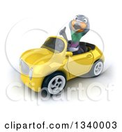 Clipart Of A 3d Pigeon Giving A Thumb Up And Driving A Yellow Convertible Car 2 Royalty Free Illustration