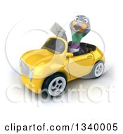 Clipart Of A 3d Pigeon Holding An Envelope And Driving A Yellow Convertible Car Royalty Free Illustration