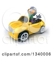 Clipart Of A 3d Pigeon Waving And Driving A Yellow Convertible Car Royalty Free Illustration