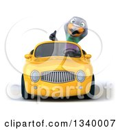 Clipart Of A 3d Pigeon Giving A Thumb Up And Driving A Yellow Convertible Car Royalty Free Illustration