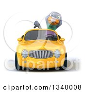 Clipart Of A 3d Pigeon Giving A Thumb Down And Driving A Yellow Convertible Car Royalty Free Illustration