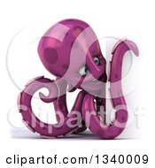 Clipart Of A 3d Purple Octopus Looking Around A Sign Royalty Free Illustration by Julos