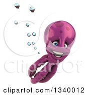 Clipart Of A 3d Purple Octopus Swimming 2 Royalty Free Illustration