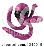 Clipart Of A 3d Purple Octopus Wearing Sunglasses And Twisting Royalty Free Illustration