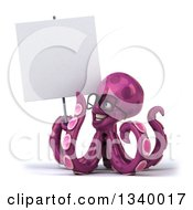 Clipart Of A 3d Bespectacled Purple Octopus Holding And Looking Up At A Blank Sign Royalty Free Illustration