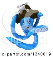 Clipart Of A 3d Blue Pirate Octopus Twisting Royalty Free Illustration