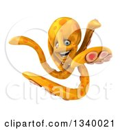 Clipart Of A 3d Orange Octopus Twisting Royalty Free Illustration