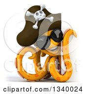 Clipart Of A 3d Orange Pirate Octopus Wearing Sunglasses And Looking Around A Sign Royalty Free Illustration