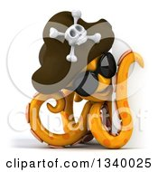 Clipart Of A 3d Orange Pirate Octopus Wearing Sunglasses And Looking Around A Sign 2 Royalty Free Illustration