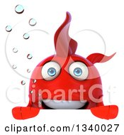 Clipart Of A 3d Red Fish With Bubbles Over A Sign Royalty Free Illustration