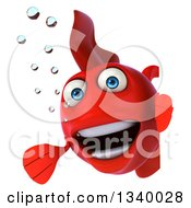 Clipart Of A 3d Presenting Happy Red Sailor Fish Around A Sign Royalty Free Illustration
