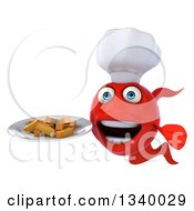 3d Red Fish Chef Holding A Plate Of French Fries