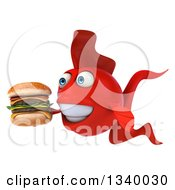Clipart Of A 3d Red Fish Holding A Double Cheeseburger Facing Left Royalty Free Illustration