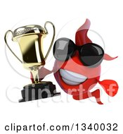 3d Red Fish Wearing Sunglasses And Holding A Gold Trophy