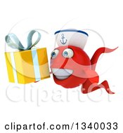 3d Happy Red Sailor Fish Facing Slightly Left And Holding A Gift