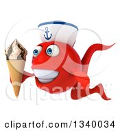 Clipart Of A 3d Happy Red Sailor Fish Facing Slightly Left And Holding A Waffle Ice Cream Cone Royalty Free Illustration