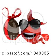 Clipart Of A 3d Red Fish Wearing Sunglasses And Holding A Chocolate Easter Egg 2 Royalty Free Illustration by Julos