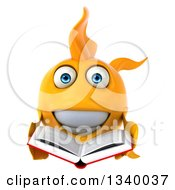 Clipart Of A 3d Happy Goldfish Holding An Open Book Royalty Free Illustration