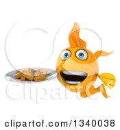 Clipart Of A 3d Goldfish Holding French Fries On A Plate Royalty Free Illustration