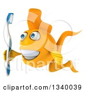 Clipart Of A 3d Happy Yellow Fish Holding A Toothbrush Facing Left Royalty Free Illustration