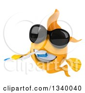 Clipart Of A 3d Happy Yellow Fish Wearing Sunglasses And Brushing His Teeth Royalty Free Illustration