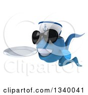 Clipart Of A 3d Happy Blue Sailor Fish Wearing Sunglasses Facing Left And Holding A Plate Royalty Free Illustration