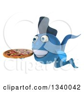 Clipart Of A 3d Blue Fish Holding A Pizza Facing Left Royalty Free Illustration