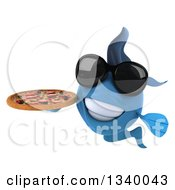 Clipart Of A 3d Blue Fish Wearing Sunglasses And Holding A Pizza Royalty Free Illustration