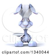 Clipart Of A 3d Blue Bunny Rabbit Chef Holding A Plate Royalty Free Illustration by Julos