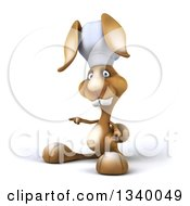 Clipart Of A 3d Brown Bunny Rabbit Chef Pointing To The Left Royalty Free Illustration by Julos