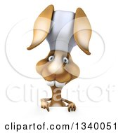 Clipart Of A 3d Brown Bunny Rabbit Chef Pointing Down Over A Sign Royalty Free Illustration by Julos