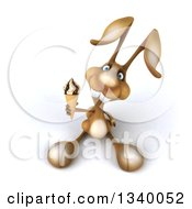 Clipart Of A 3d Brown Bunny Rabbit Holding Up A Waffle Ice Cream Cone Royalty Free Illustration by Julos