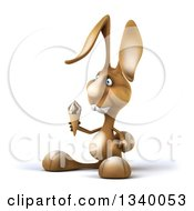 Clipart Of A 3d Brown Bunny Rabbit Holding A Waffle Ice Cream Cone And Facing Left Royalty Free Illustration by Julos