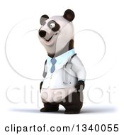 Clipart Of A 3d Doctor Or Veterinarian Panda Facing Left Royalty Free Illustration
